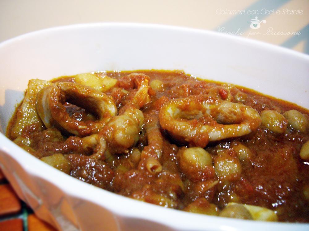 calamari con ceci e patate